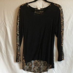 Bubble B. Black and Gold Blouse